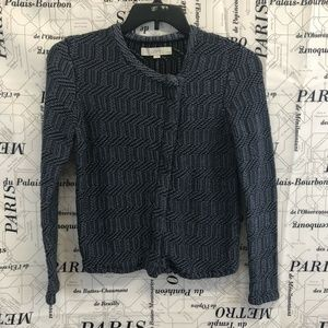 Ann Taylor Loft Sweater Blue Black Asymmetric